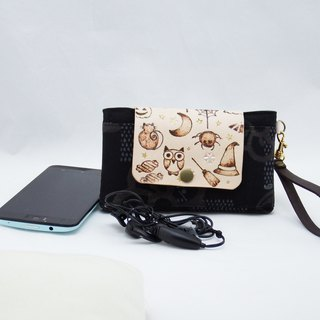 Leather Ancient Cloth Phone Bag - Black Cat Witch Owl