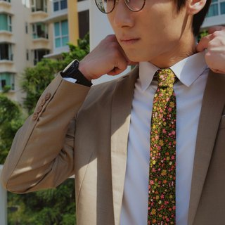 CAVEMAN Necktie - Japan Brown Pink Yellow Floral