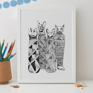 MUMMIFIED CATS PRINT