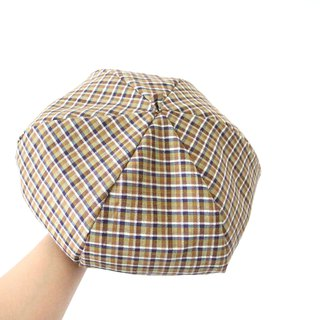 Retro plaid handmade double-sided hexagonal hat painters hat