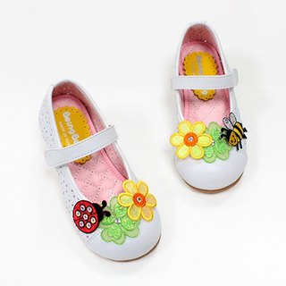 Girl doll shoes with Bee & ladybugs - white