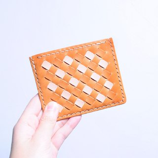 Woven 咭 — - orange brown x primary color leather material package free engraved business card holder Italian vegetable tanned