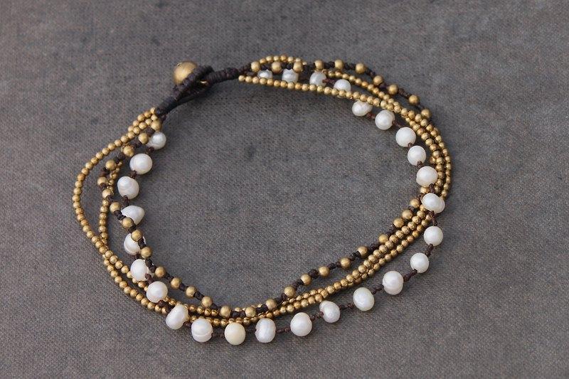 珍珠黃銅鏈麻腳鍊水珍珠黃銅串珠多股腳鍊