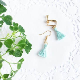 Handmade Tassel Earrings Earclips Rose Gold Series-light blue limited