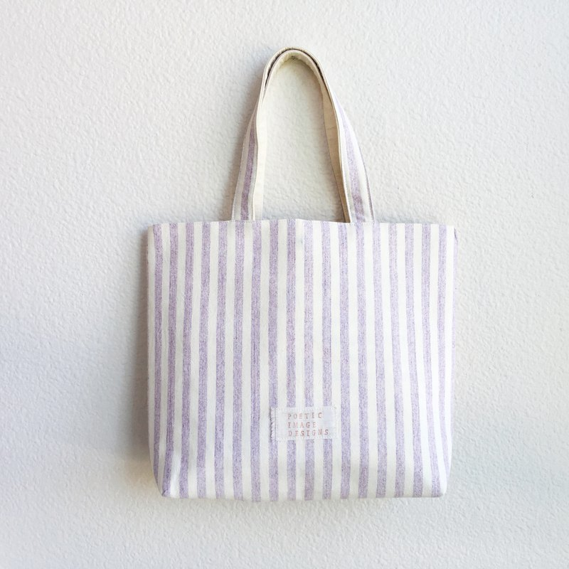 簡單線條 薰衣草紫 日本布 先染布 托特包 手提 肩背 日用包