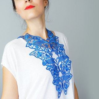 ROYAL BLUE  Clothing Gift Necklace Venise Lace Necklace Lace Jewelry Bib Necklace Statement Necklace Body Jewelry Gift/ FIORDI