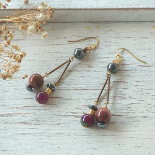 Hemalite/Gold stone/Zoisite 2 ways earrings