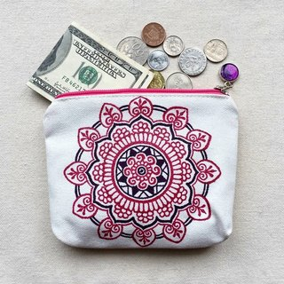 Hand-painted small objects storage bag debris bag purse bag zipper pouch Cosmetic rosy purplish blue colored Henna Mandala design Mandala Zen about Hanna Man Di ethnic Indian painted canvas
