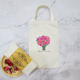 Happiness Portable Cotton Canvas Bag - Customized Wedding Stuff - Bouquet D