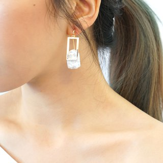 CLASSIC by nobeing Pearl Series - Rectangular Natural Pearl Earrings