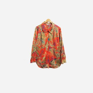 Dislocation Vintage / Double Button Orange Print Shirt no.422 vintage