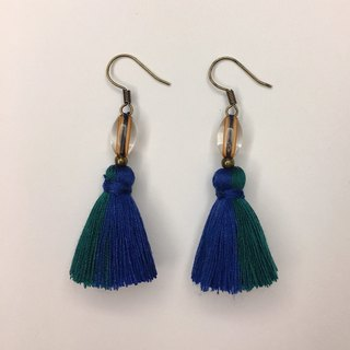 Non-political blue and green twist tassel earrings ear hook/ear clip