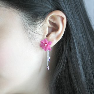 Purple Pink Violet Resin Clay 925 Silver Earrings