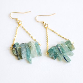 Blue kyanite dangle earrings - 18k gold plated earrings