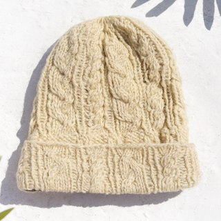 Christmas market Christmas gift limited hand-woven pure wool cap / knit hat / knit wool cap / inner bristles hand-woven wool cap / wool cap - twist yellow Boston cake beige