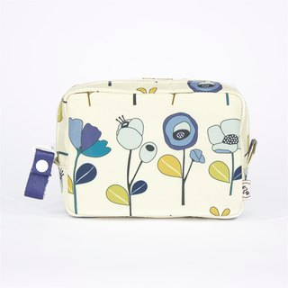 Ra Eco-friendly Super Light Waterproof Floral Cosmetic Pouch (Beige Anemone)
