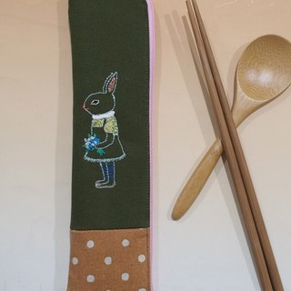 Eat guy * embroidery green chopsticks bag (with bamboo spoon / chopsticks) - take flowers bunny