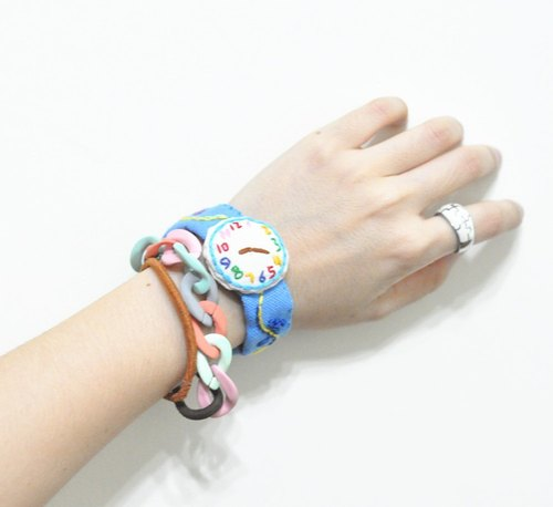 magichand original hand-made embroidery cute fake watches bracelet (blue)
