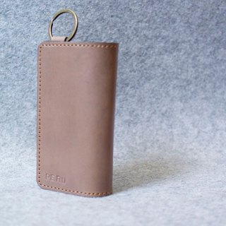 YOURS LEATHER KEY RING COLLECTION Double Fold Double Melange Key Bag K17 Original wood color leather