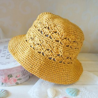 Hand weave - weed knitted shellfish fisherman hat / sun hat ~
