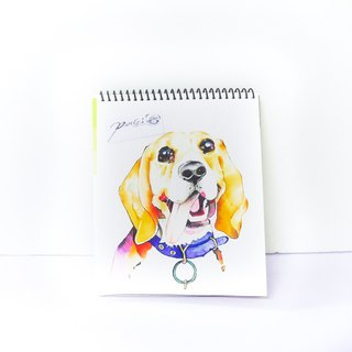 Hand painted watercolor - pet portrait - pet painting - dog portrait commissioned drawing [without box] MiGlu