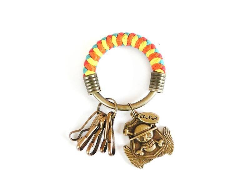 [Na UNA- excellent hand-made] key ring (small) 5.3CM bright red + yellow + orange + green lake + Piece badge hand-woven wax rope hoop customization