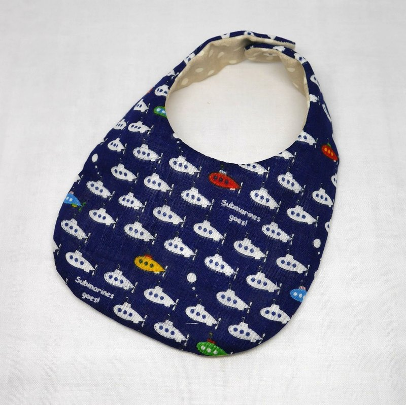 Japanese Handmade 8-layer-gauze Baby Bib /submarine dark blue