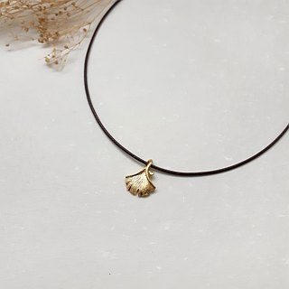 Wax line necklace copper plated 18K gold ginkgo leaf plain color simple wax rope thin line