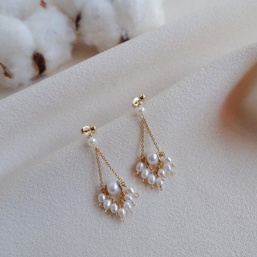 Miluku 14kgf diamond pearl earrings