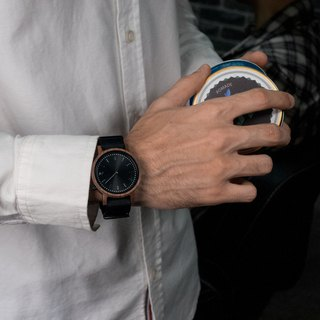 PRIME 1.1.1 Walnut Wood Wooden Watch - Muted Black 42mm