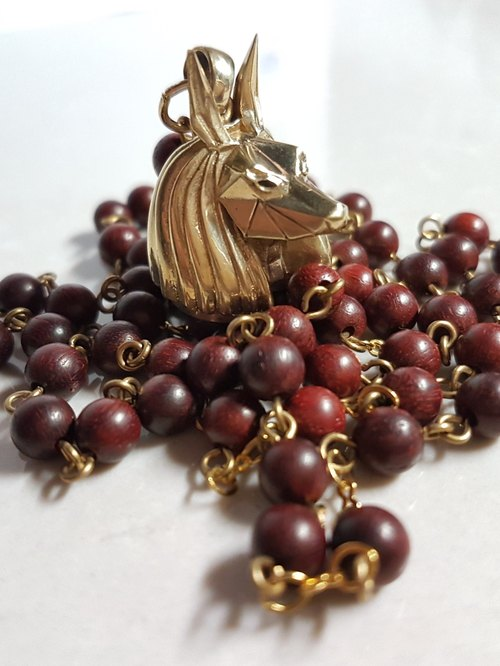 Anapa Copper Gold Rosewood Design Necklace
