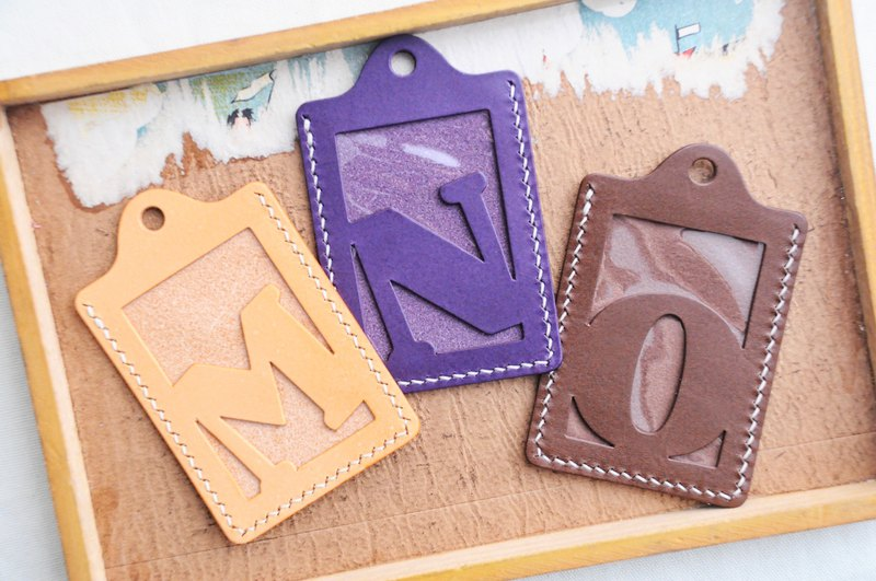 Initial letter M | N | O Letter ID sets of well-stitched leather material bag card holder name card holder