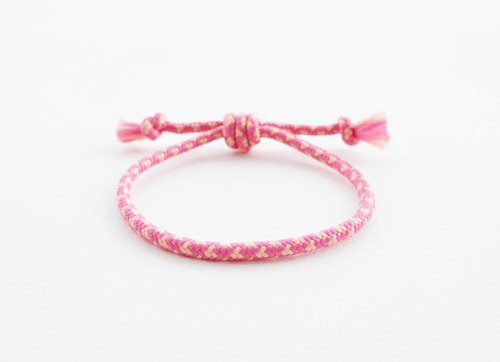 Pull-it-tight pink and light yellow rope bracelet