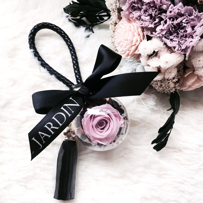"""Le Jardin"" Diablo series taro Purple Rose immortal flower ball tassels leather key ring / Valentine's Day birthday gift"