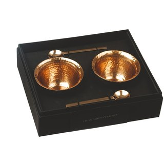 British Selbrae House copper metal sauce bowl with a small spoon gift box (a set of two bowls) - spot