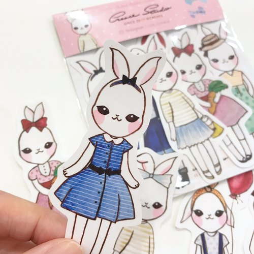 [Sweet series] Snow Bunny watercolor 5 into the sticker / 1 into the writing card card group