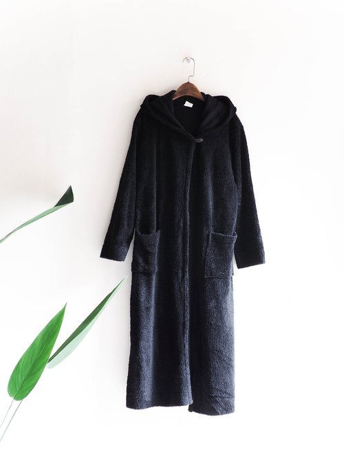 Kawashima - Tokushima independent static black soft fluffy wood buckle side open antique imitation wool hooded coat coat vintage vintage overcoat