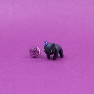 Black Cat Earrings - Polymer Clay Earrings, Handmade & Handpaited