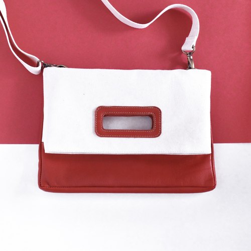 #免运# Canvas stitching leather multi-purpose envelope bag - embryo cloth rice / cowhide coffee red