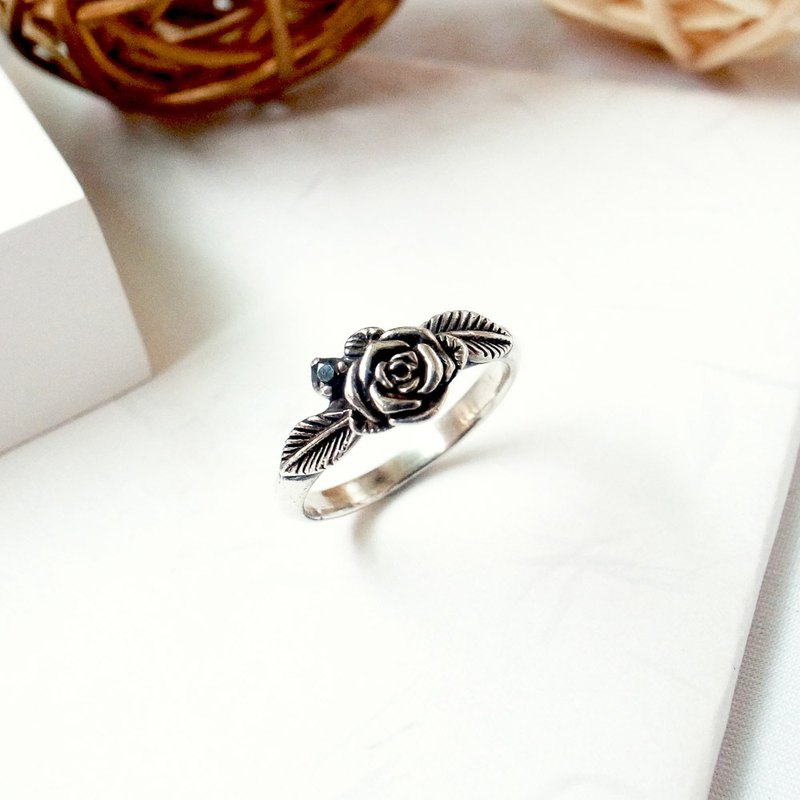 Classical Rose Sterling Silver Thin Ring Ring 925 Sterling Silver