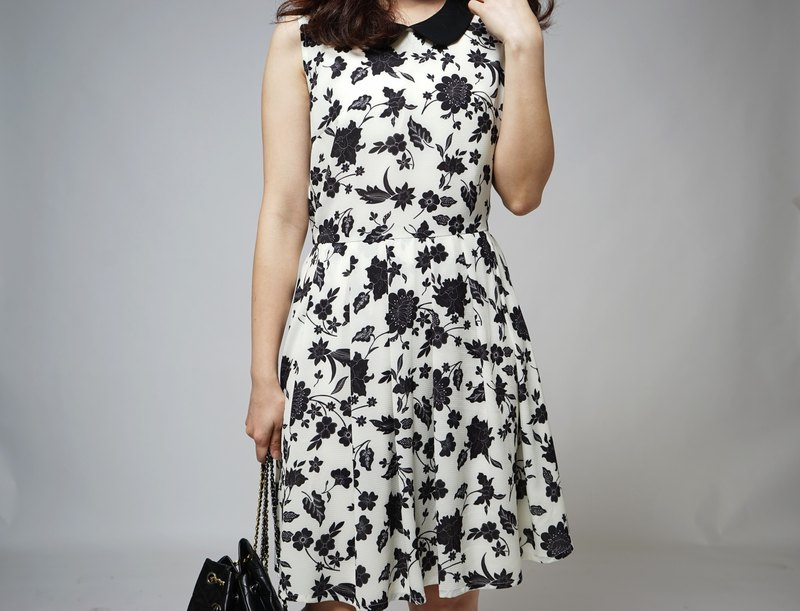 MIT Floral Round Neck Chiffon Dress (R5026E)