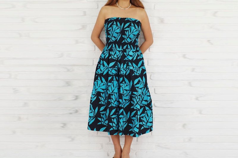 Batik Leaf Pattern Tiered Dress <turquoise>