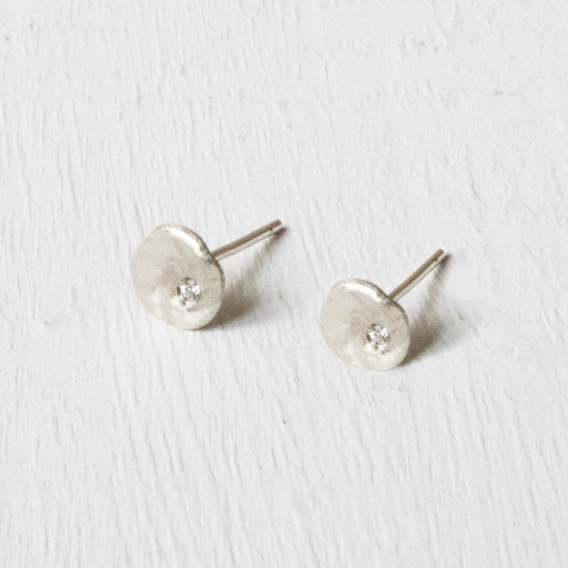 Little circle diamond earrings-silver