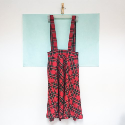 Vintage Half Skirt / Red Scottish Checkered Dress