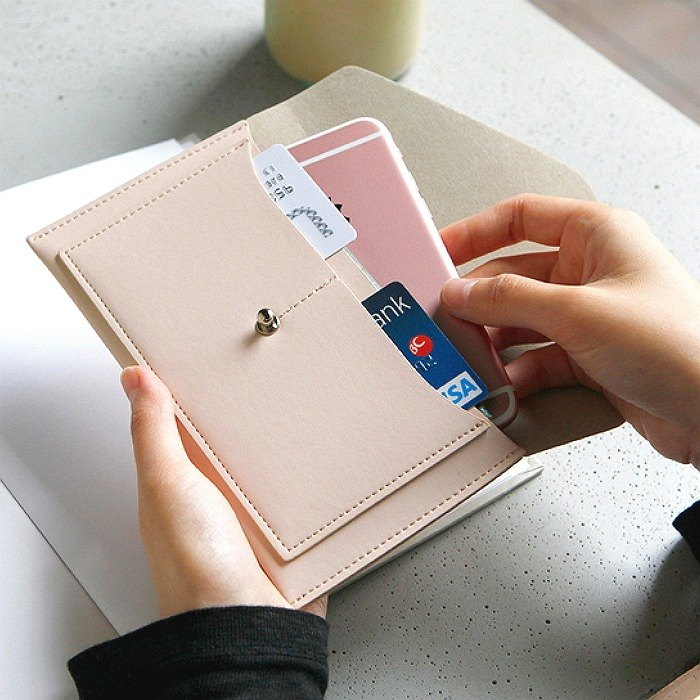 Korea ithinkso Envelope Bag LAIK ENVELOPE Travel Leather Passport Card Change Cell Phone White White