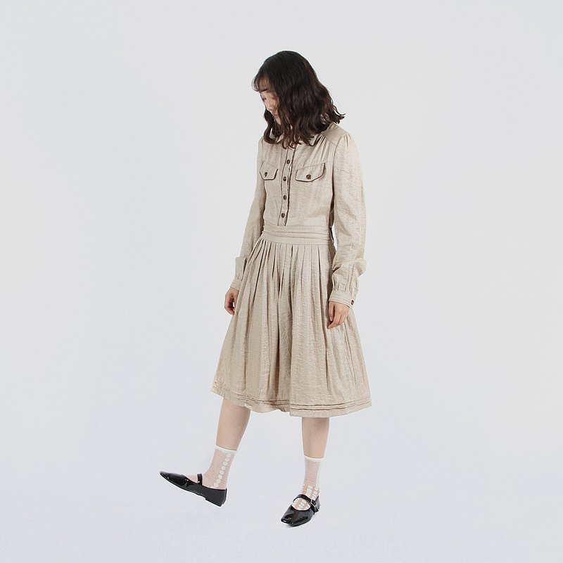 [Egg plant vintage] black rice tea pure color vintage dress