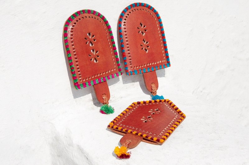 Handmade leather painted hand mirror bohemian style portable mirror leather portable mirror - color fringe