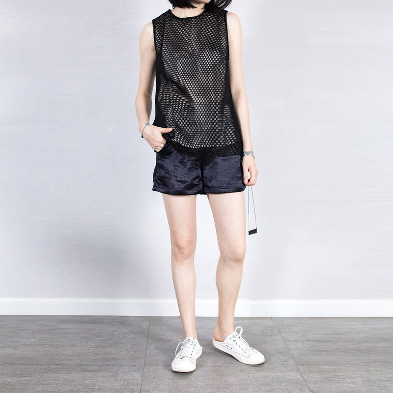 杲果GAOGUO original designer brand 18 summer black mesh silk lining sports vest top