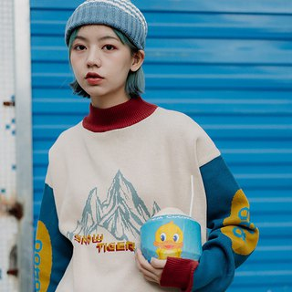 Snow Mountain Tiger Pattern Couple Round Neck Sweater Men and Women Japanese Retro Half Turtleneck Sweater Sweater