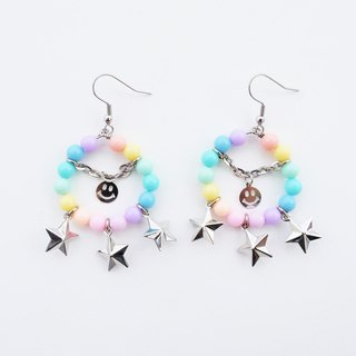 Pastel bead hoop earrings with smiley and star charm